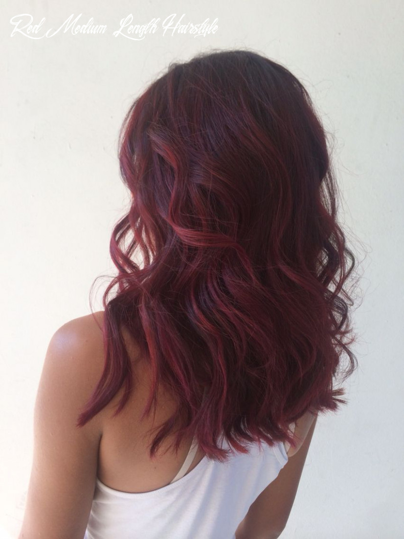Violet red hair, balayage melt, berry hair, red violet balayage