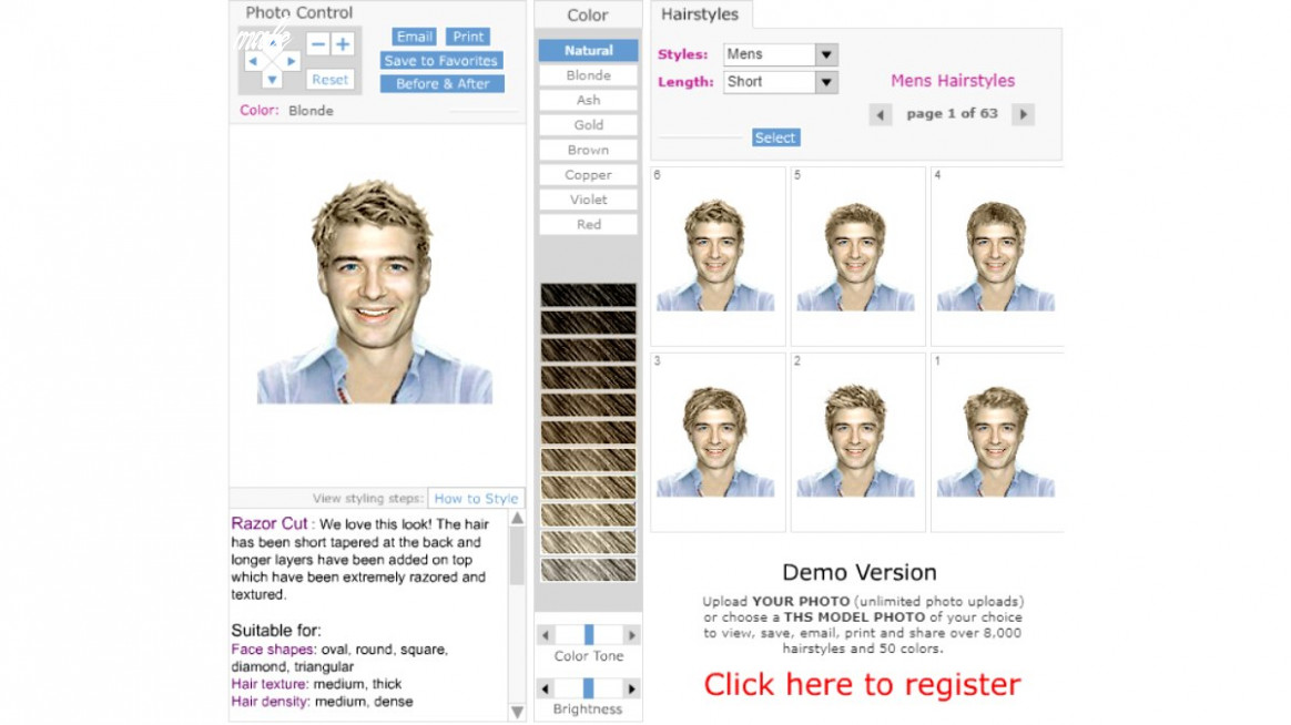 Virtual try on haircuts and makeover app for men haircut simulator male