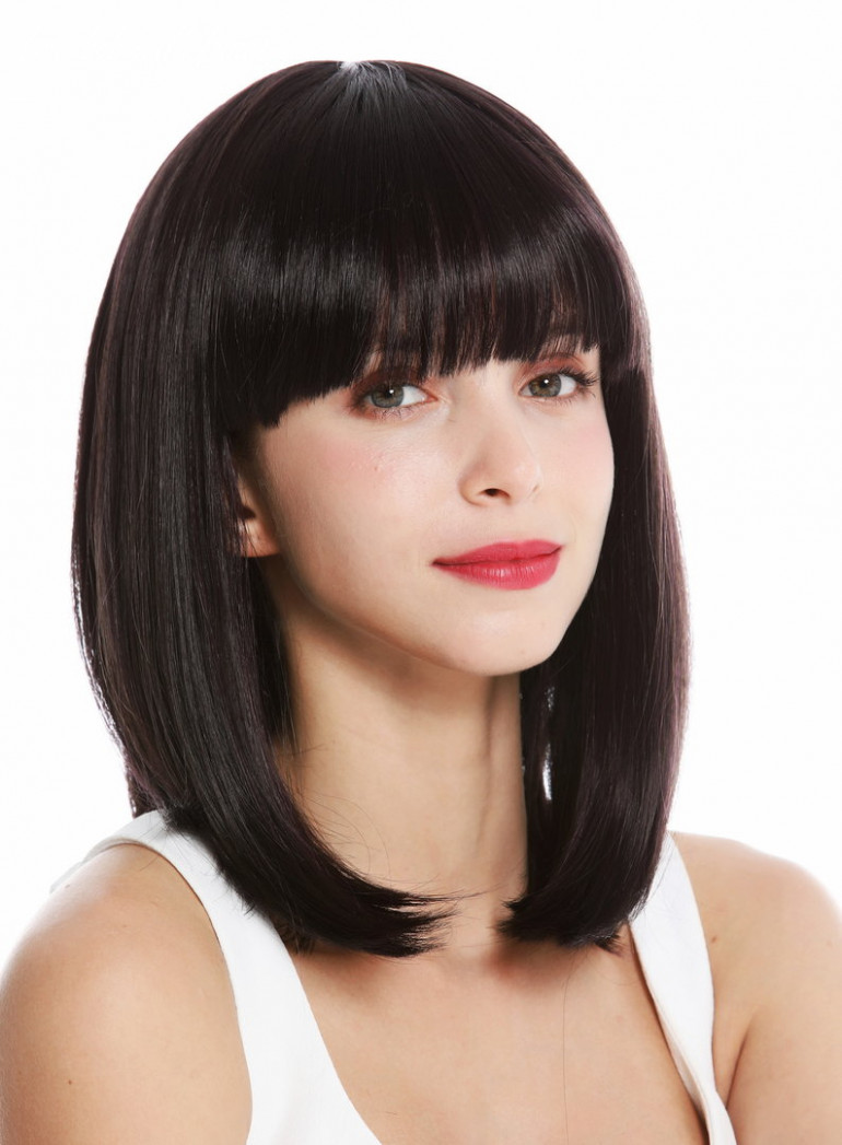 VK-11-11HDEEPVIOL quality women's wig short shoulder length long bob fringe  sleek dark brown violet