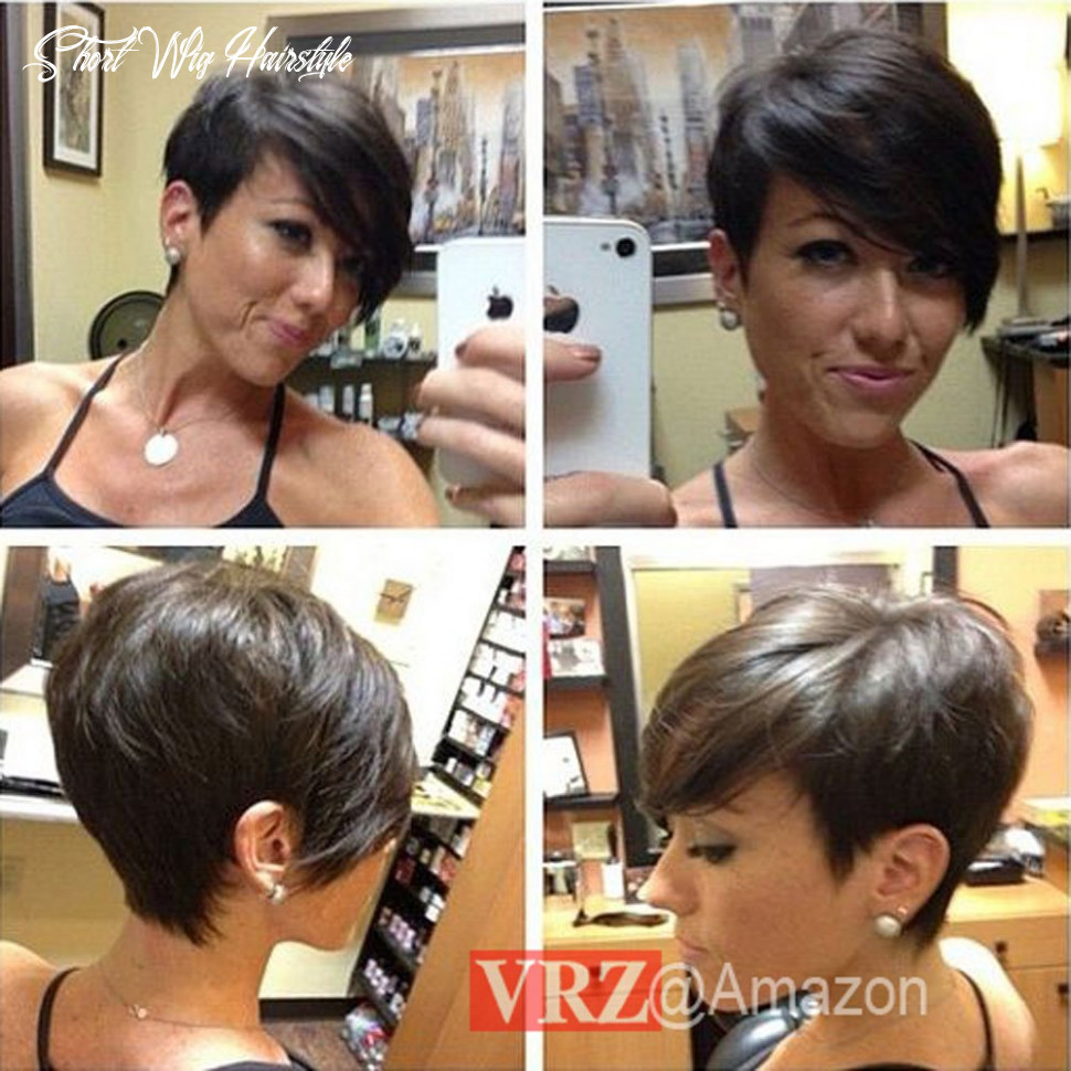 Vrz short human hair wigs pixie cut black wig with side bang medium cap size none lace wig natural color (xjk) short wig hairstyle