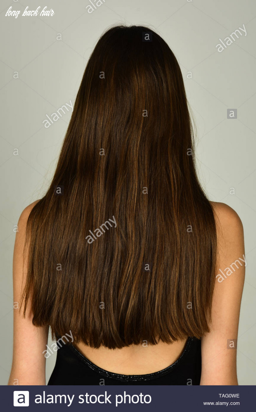Woman with long brunette hair, back view. Girl with healthy hair ...