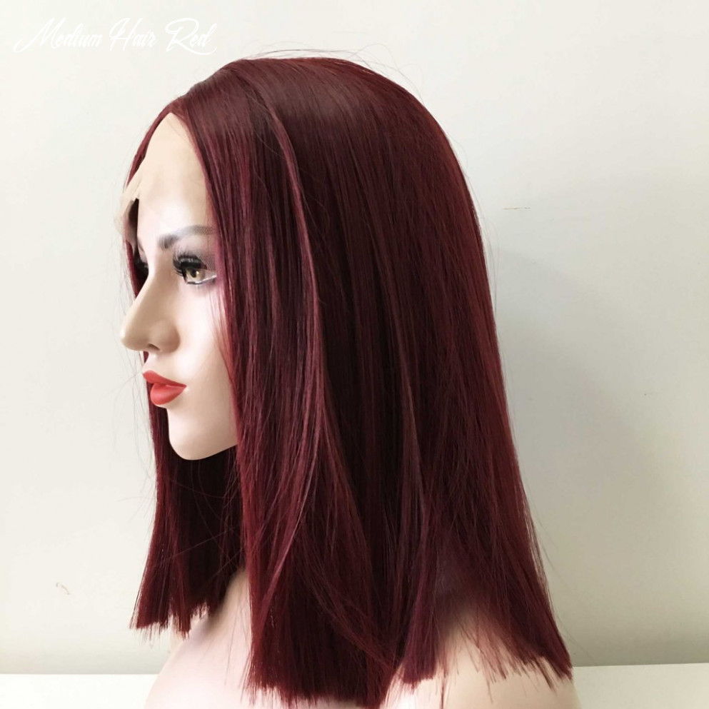 Women Lace Front Cherry Auburn Red Middle Part Medium Length ...