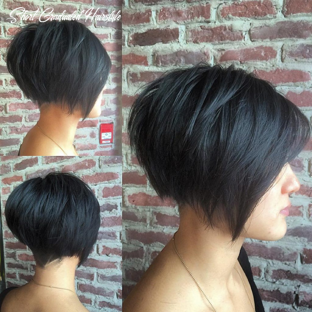 Women's Black Undercut Bob with Choppy Graduated Layers and Shaved ...