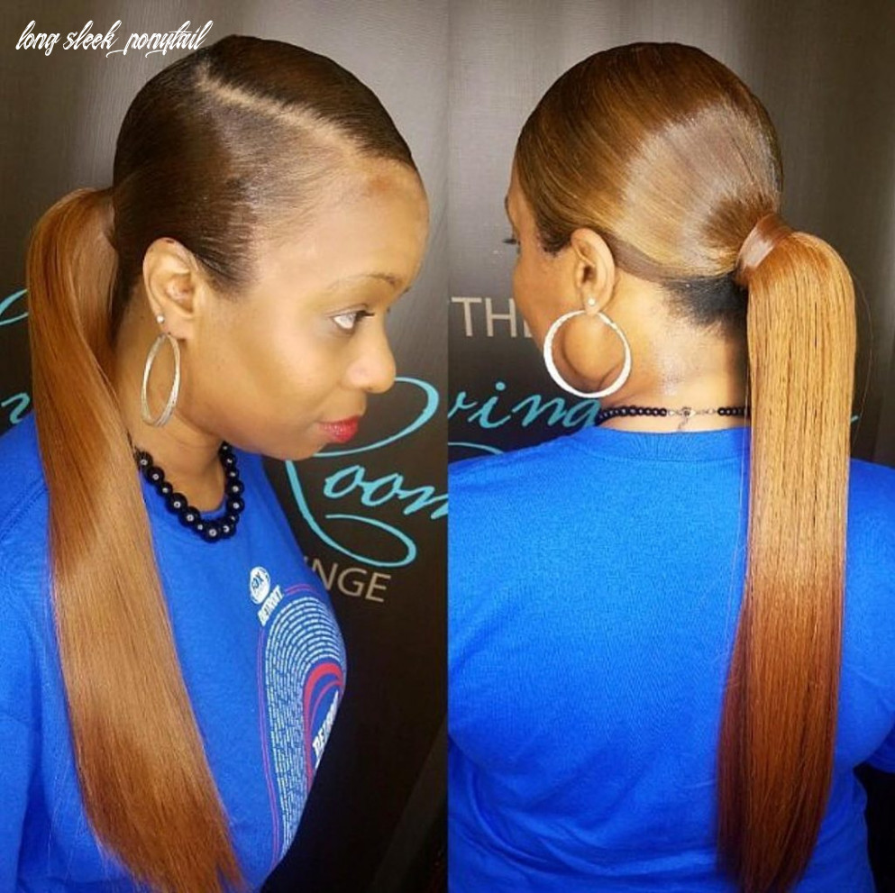 Women's Long Sleek Low Ponytail with Bronze Color Updo Hairstyle