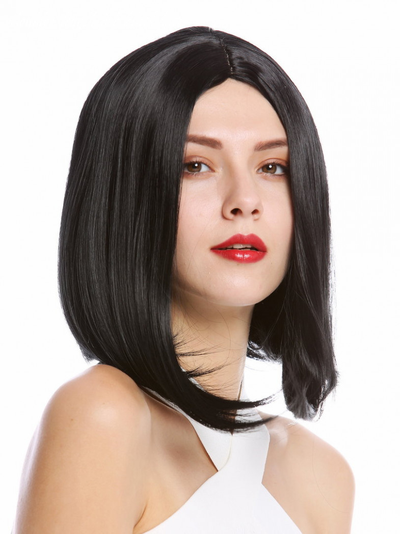 YZF-8-8 Lady Quality Wig short shoulder length Bob Longbob straight  middle-parting black