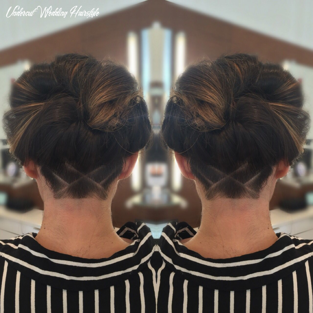 Undercut and updo on brunette with balayage | undercut long hair
